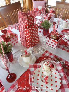 The Little Yellow Corner Store: Zesty, Peppy Love. Love the red and white polka dots in this charming Valentines Day table.
