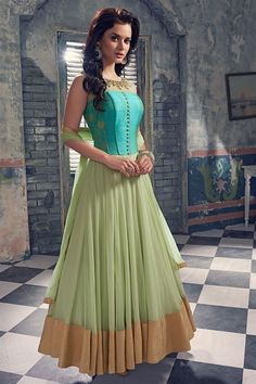 Green & blue color anarkali suit with raw silk yoke