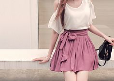"""I really like this cute and romantic look with the white """"cold shoulder"""" blouse with the dark skirt."""