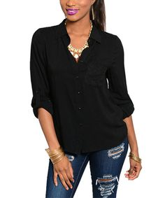 Love this Black Lace-Accent Button-Up by Buy in America on #zulily! #zulilyfinds