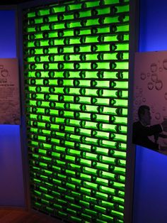 Glass beer bottle blocks, love the idea of recycling and allowing light to pass through a wall