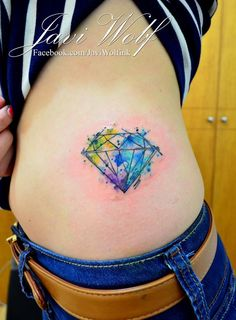 Watercolor Diamond Tattoo.  Tattooed by @javiwolfink  www.facebook.com/javiwolfink