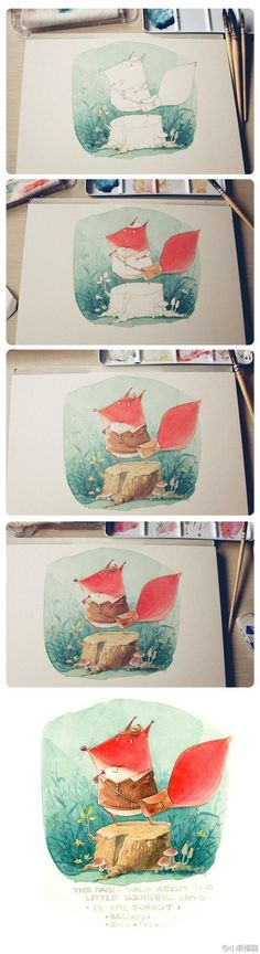 Watercolor painting, step by step.