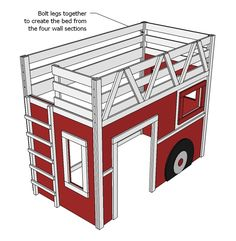 New Fire Truck Bedroom Ana White 41 Ideas Fire Truck Bedroom, Fire Truck Nursery, Loft Bed Plans, Murphy Bed Plans, Kura Bed, Bunk Beds, Loft Beds, Ana White, Chambre Nolan