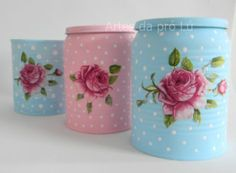 vir my ou koffieblikkies Bottle Painting, Bottle Art, Diy Painting, Tin Can Crafts, Fun Crafts, Diy And Crafts, Jar Design, Decoupage Tutorial, Decoupage Vintage