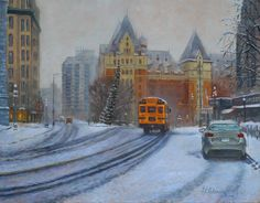 Walking the streets of Victoria during the winter months is very inspiring for an artist. This time of year to see snow on the ground is ver Madrid City, Abstract City, Original Art For Sale, Photorealism, Paintings I Love, Winter Scenes, Cold Day, Contemporary Paintings, Figurative Art