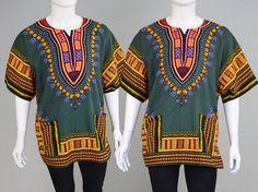 Vintage 70s Hippy Mens Dashiki West African Shirt by ZeusVintage