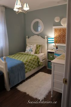 cute room colors - and shows how to make a small bedroom really cute and functional still...