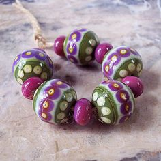 Handmade Lampwork Glass Bead Set (11 pcs) Ethnic Style Olive Purple Light-Yellow Round 'NATALIA KOROLYUK' Etsy <3<3<3ADORE THE COLOURS<3<3<3