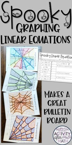 Halloween Math Graphing Linear Equations Spiderwebs This is a great holiday math activity where students graph linear equations to create Spooky Spiderwebs! Halloween Tags, Maths Halloween, Halloween Math Worksheets, Halloween Tricks, Halloween Scene, Halloween Patterns, Scary Halloween, Halloween Decorations, Math College