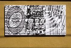 """Vincent Rheinberger, Ficciones Typografika 1264-1266 (72""""x36""""). Installed on August 14, 2016. More: http://ficciones-typografika.tumblr.com/"""