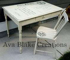 Custom Antique Postcard Table and Chair Set DIY.  Makes a lovely desk.
