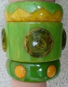 Lime green and bright yellow vintage bakelite bracelets.