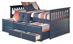 twin to full bed frames with storage and trundle | Leo Blue Wood Twin Trundle Bed w/ Storage