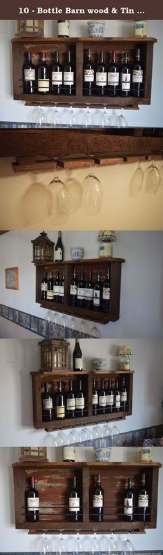 """10 - Bottle Barn wood & Tin Wine rack. This tin & barn wood is gorgeous!! A unique up to 10 bottle wine bottle and 6 - glass holder, wine rack. Back is slightly rusted tin from barn roofs, beautiful patina that varies with each rack. Sides are from 100+ year old mid west barns, Beautiful combination to showcase your wines. 6"""" shelf on top to hold all your favorite pieces, or more wine :) 1/4 steel across front helps to showcase your wine, while keeping your bottles safe Wine Rack is 39""""…"""