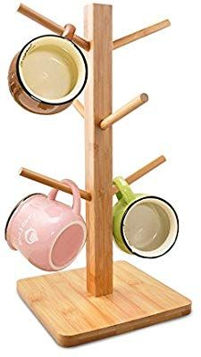 Amazon Com Cuteadoy Mug Rack Tree Removable Bamboo Mug Stand Storage Coffee Tea Cup Organizer Hanger Holder With Mug Rack Best Coffee Mugs Stemware Storage
