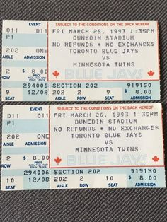 e4712ff55 1993 Toronto Blue Jays vs. Minnesota Twins Ticket Stub Pair 3/26 Dunedin  Stadium