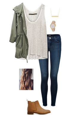 """Army Green Jacket + Booties"" by gabbbsss ❤ liked on Polyvore featuring moda, J Brand, Enza Costa, ASOS, Fremada y Kate Spade"
