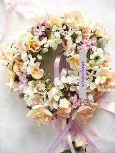 Spring Summer 2 Tone Orange Pink Rose Silk Flower Wreath Arrangements Door Deco | eBay