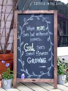 French Cafe Chalkboard on front porch with quote