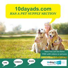 10dayads.com has a pet supply section. #FreePetSupplyAds #FreePetsProductsOnline
