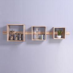 Ibex Square Box Shelf Set (Natural Finish)