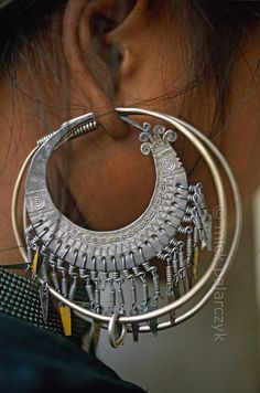 tribes of North Vietnam - Smit & Palarczyk [VIETNAM.NORTH 'Black H'mong ear ring.' The Black H'mong girls and women of Sapa wear elaborate ear rings.NORTH 'Black H'mong ear ring.' The Black H'mong girls and Tribal Earrings, Tribal Jewelry, Indian Jewelry, Statement Earrings, Western Jewelry, Hippie Jewelry, Yoga Jewelry, Silver Jewelry, North Vietnam