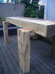 Richard Well's 'rustic chic' table with oak railway sleepers 2