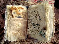 Fabric and lace journal