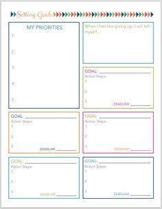 Monthly goal planner template to help you organize your life household organizing binder setting goals planning . Goals Worksheet, Goal Setting Worksheet, Goal Setting Activities, Goal Setting Template, Planner Free, Planner Pages, Happy Planner, Goal Planning, Business Planning