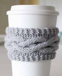 Cabled Coffee Cozy 200 12199 Free Knitting Pattern: Cabled Coffee Cozy