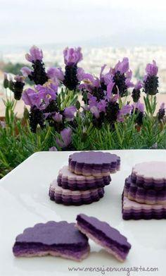 biscuits à étages ombré / layered Ombré cookies Lavender flavoured perhaps? Galletas Cookies, Cake Cookies, Sugar Cookies, Cupcakes, Iced Cookies, Lavender Cookie Recipe, Lavender Recipes, Biscuits, Cookie Designs