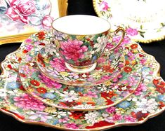 Early Century Star Paragon Chintz Tea Cup and Saucer Trio Cake Plate Teacup Rose Set - Vintage English bone china teacup / place setting - Hand painted over transferware, circa Vintage Dishes, Vintage China, Vintage Tea, Tea Cup Saucer, Tea Cups, China Tea Sets, Teapots And Cups, My Cup Of Tea, Tea Service