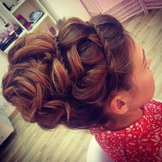With the braids and curls I think this would be a cute flower girl style, but maybe not so big