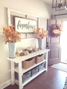 Country Decor, Farmhouse Decor, Fall Room Decor, Fall Entryway Decor, Entryway Tables, Foyer, Console Tables, Home Living Room, Living Room Decor