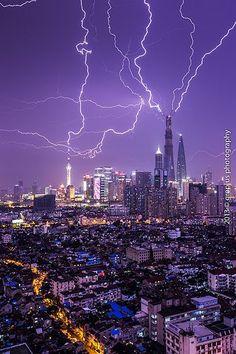 Shanghai Thunderstorm  | thunderstorm | | nature | | amazingnature |  #nature #amazingnature  https://biopop.com/