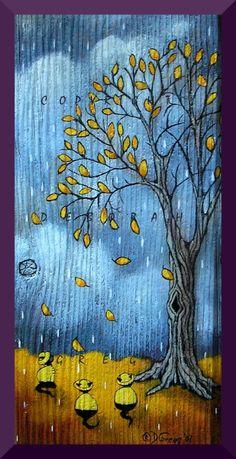 """""""Rain Coats Make It Happen"""" A Small Cat PRINT by Deborah Gregg"""