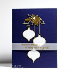 Hello everyone! Pam here with a CAS card from the class @ the Scrapbooking Studio last Saturday, using the Clairmont Ornaments die.  I die cut in metallic gold and white glitter cardstock and layered