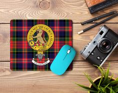 rubber mouse pad with MacPherson clan crest and tartan - only from ScotClans