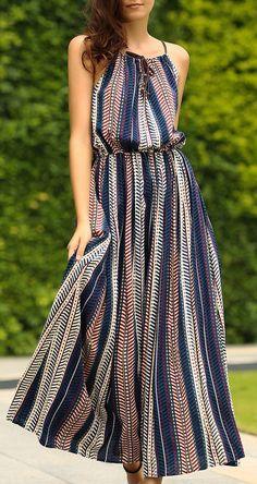 casual summer maxi dress with a killer herringbone stripe print and drawstring neckline