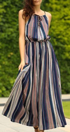 casual summer maxi dress with a killer herringbone stripe print and drawstring neckline