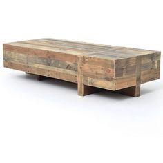 "Angora Reclaimed Wood Block Rustic Coffee Table 68"""""