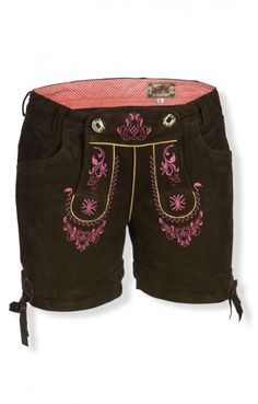 Trachten Lederhose kurz - Elfi - urigantik pink