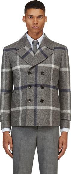 Farb-und Stilberatung mit www.farben-reich.com - Thom Browne: Grey Navy Wool Tartan Peacoat