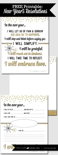 Free New Years Resolution Printable - Somewhat Simple