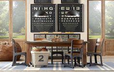 Love this vintage-industrial schoolhouse playroom.