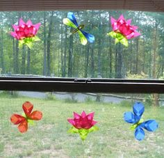 folded translucent paper spring crafts, giant bubbles, borax slime, etc.