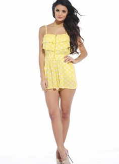 Step into summer with this hot polka dot playsuit, a definite head turner with it's sexy front zip and spaghetti straps, team up with some of our wedges or sandals, perfect for hoildays and festivals Approx length from shoulder to hem: 65cm PW018PDYELLOW/8  FREE SHIPPING ON ORDERS OVER $50 International (Canada only)