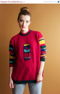 ON SALE Vintage 90s United Colors Of Benneton Striped Sweater pullover jumper Red Patchwork B Rainbow Stripe 1990 Grunge oversized Preppy