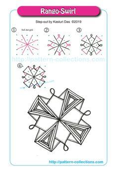 Rango-Swirl by Kasturi Das Zentangle Drawings, Mandala Drawing, Doodles Zentangles, Doodle Drawings, Easy Drawings, Rangoli Patterns, Doodle Patterns, Zentangle Patterns, Doodle Borders